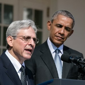 Merrick Garland speaks at his Supreme Court nomination with President Obama