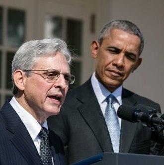 Merrick Garland - Garland with Barack Obama at his Supreme Court nomination, 2016