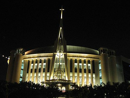 Indonesian Reformed Evangelical Church megachurch Messiah Cathedral in Night.jpg