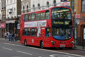 Metroline - Wright Eclipse Gemini 2 bodied Volvo B9TL on route 134 on Camden High Street