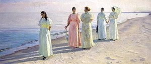 1896 in art - Image: Michael Ancher A stroll on the beach Google Art Project