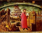 Ο Δάντης κρατώντας ένα αντίτυπο της Θείας Κωμωδίας. Διακρίνεται το βουνό του Καθαρτηρίου και η είσοδος στον Παράδεισο.