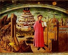 Dante Alighieri y el universo de la Divina Comedia representados por Domenico di Michelino en la catedral de Florencia.