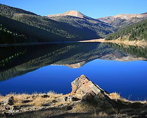 Wyoming Peak - Wyoming Peak (center background) from Middle Piney Lake, with Mount Coffin at right