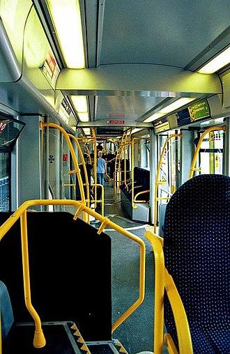 West Midlands Metro rolling stock - Image: Midland Metro Ansaldo Breda tram interior geograph.org.uk 1471425