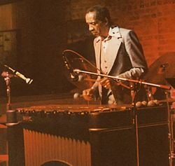 Milt Jackson, circa 1980. Note his characteristic palms-inward two-mallet grip. Photo by S M O'Kelly.