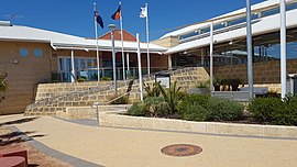Mirrabooka library front with ramp and flags.jpg