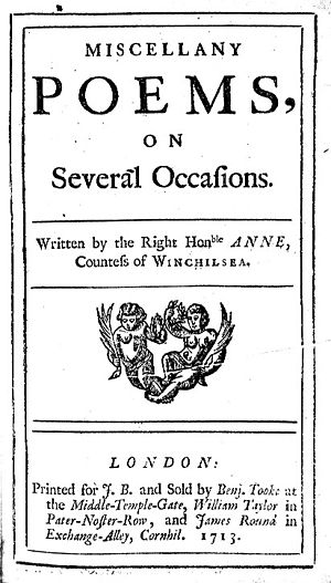 Anne Finch, Countess of Winchilsea - Title page of Miscellany Poems, on Several Occasions, published in 1713.