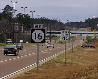 Mississippi Highway 16 - Mississippi Highway 16 westbound in Neshoba County.