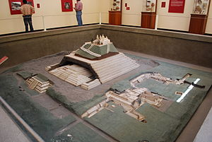 Great Pyramid of Cholula - Room with model of the various structures that make up the pyramid