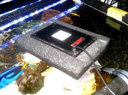 Modern floating surface algae scrubber filter, floating on top of aquarium