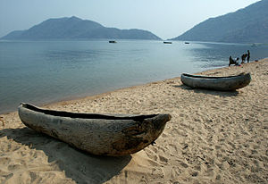 Geography of Malawi - Two small dugout canoes on the shore of Lake Malawi