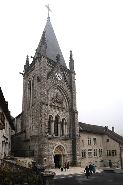 Church and ancient Augustinian abbey, Montbenoît, France.