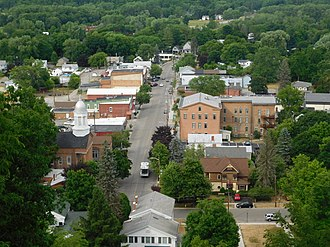 Montour Falls, New York - Downtown Montour Falls as seen from Mill Street above Shequaga Falls.