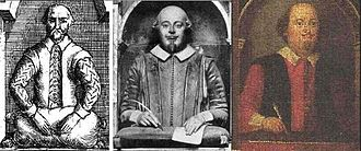 Shakespeare authorship question - The effigy of Shakespeare's Stratford monument as it was portrayed in 1656, as it appears today, and as it was portrayed in 1748 before the restoration