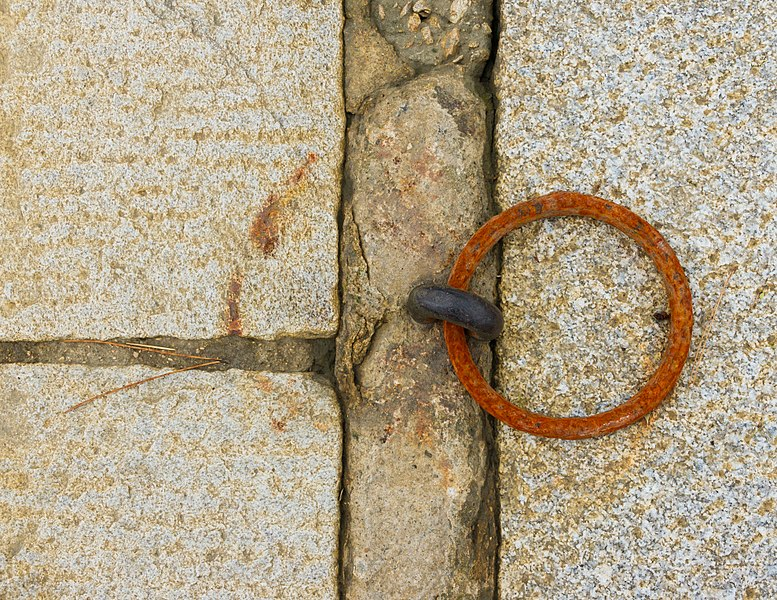 A rusted mooring ring, Île aux Moines, Morbihan, France