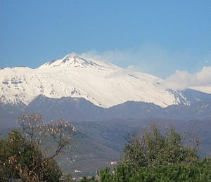 Mount Etna, Sicily, topped in snow