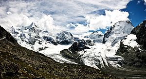 Dent Blanche - Panorama from the Grand Mountet Hut with the Dent Blanche north face on the far right, the summit on the left is the Ober Gabelhorn