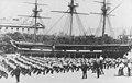 Mr Jim Byes Trafalgar Company and Mr Flanagans No. 9 Company at the Royal Hospital School exercising by the training ship Fame (4720661575).jpg