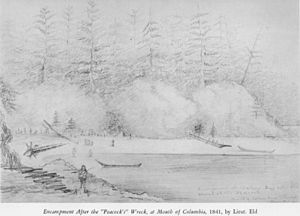 "Henry Eld - Encampment After the ""Peacock's"" Wreck, at Mouth of Columbia, 1841 by Lieut. Eld"