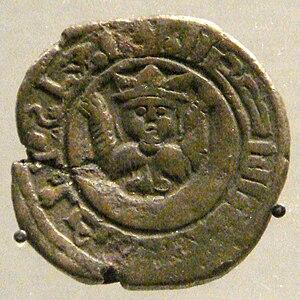 Mu'izz ad-Din Mahmud - Coin of Mu'izz ad-Din Mahmud, with representation of the moon, mint of Jazira, 1219.