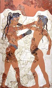 Minoan youths boxing, Knossos fresco. Earliest documented use of 'gloves'.