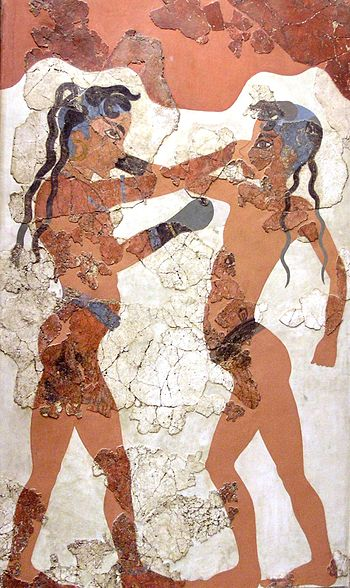 Minoan youths boxing, reconstruction of a Knos...