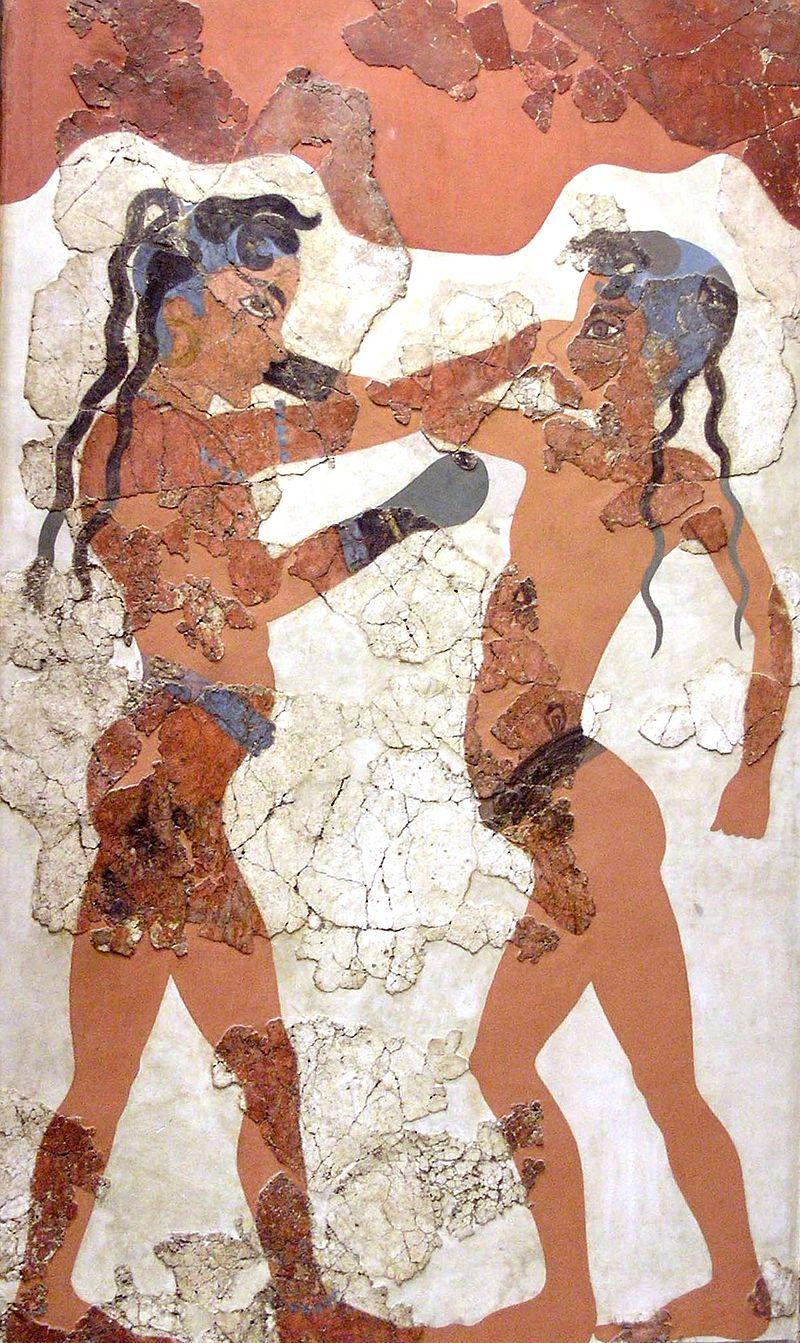 Boxers Fresco, c. 1600 BCE, Akrotiri, Santorini, Greece.
