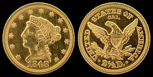 "Quarter eagle - The 1848 ""Liberty Head"" quarter eagle punch-marked ""CAL"""