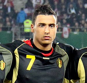 Nacer Chadli - Chadli lining up for Belgium