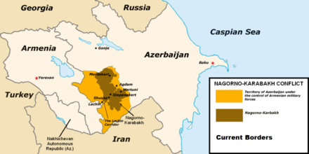 Current military situation in separatist Nagorno-Karabakh Nagorno-Karabakh Map2.png