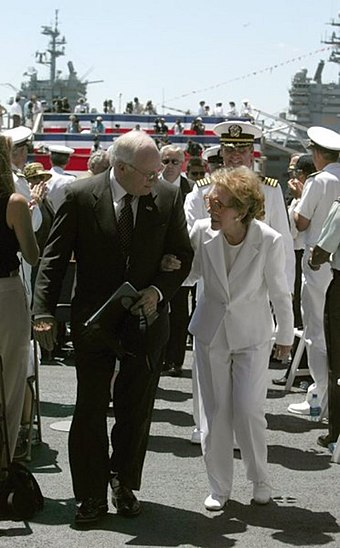 Vice President Cheney escorts former first lady Nancy Reagan at the commissioning ceremony of the USS Ronald Reagan, 2003 Nancy Reagan Dick Cheney USS Ronald Reagan.jpg