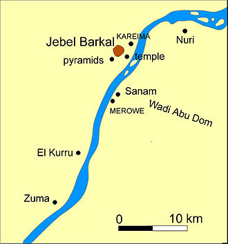 Nuri - Map of Jebel Barkal and Nuri.