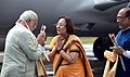 Narendra Modi being welcomed by the Governor of Manipur, Dr. Najma Heptulla and the Chief Minister of Manipur, Shri N. Biren Singh, on his arrival.jpg