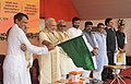 Narendra Modi flagging off the Rajgir-Bihar Sharif-Daniawan-Fatuha passenger train and Patna-Mumbai AC Suvidha Express, at Patna, Bihar. The Governor of Bihar, Shri Keshri Nath Tripathi, the Chief Minister of Bihar (1).jpg