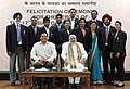 Narendra Modi with the medal winners of the 17th Asian Games, Incheon 2014, in New Delhi. The Minister of State for Skill Development, Entrepreneurship, Youth Affairs and Sports (Independent Charge).jpg