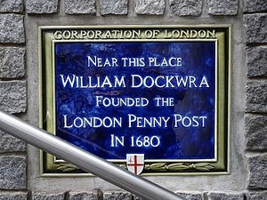 London Penny Post - Dockwra plaque in Lime Street, London