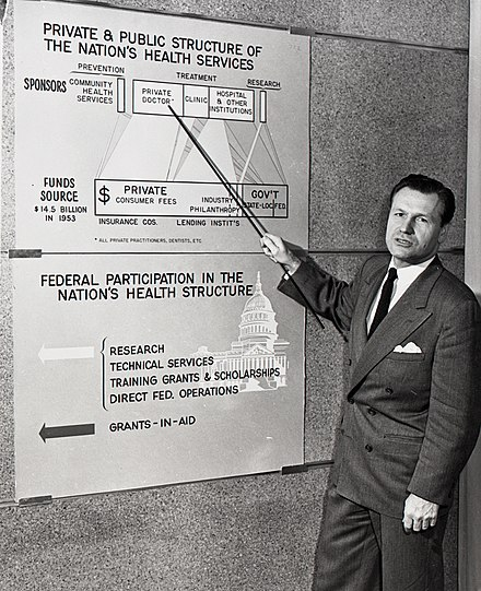 Nelson Rockefeller, Under Secretary of Health, Education and Welfare, makes a presentation on a proposed public/private health reinsurance program, 1954. Nelson Rockefeller HEW.jpg