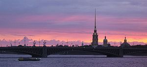 Sunset on the Neva river in St. Petersburg.