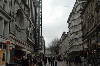 New Street, Birmingham - New Street looking west, towards Victoria Square and the Town Hall.
