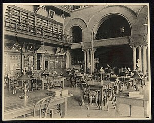Melvil Dewey - Interior of the New York State Library, late 19th century.