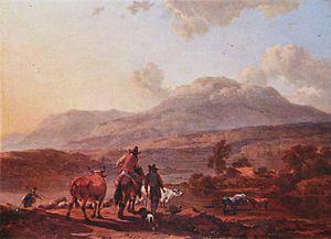 Nicolaes Pieterszoon Berchem - An Italian evening scene