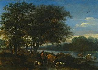 Paysage fluvial avec bergers et animaux