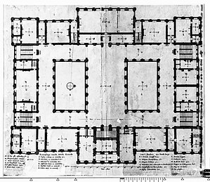 The Conspiracy of Claudius Civilis - Floorplan second floor (1661) Rembrandt's Conspiracy was in the lower left corner