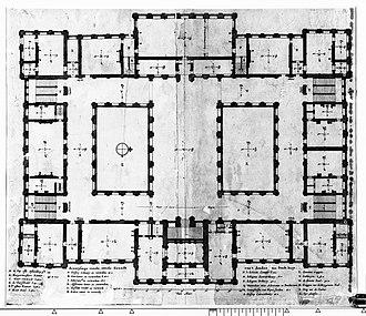 The Conspiracy of Claudius Civilis - Floorplan second floor (1661) Rembrandt's Conspiracy was in the lower left corner