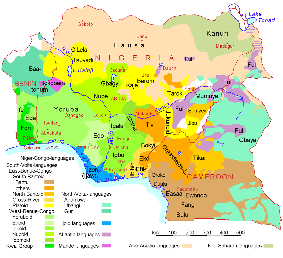 Benin Language Map - Benin map