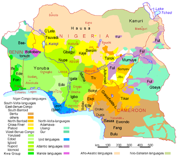 Linguistic map of Nigeria, Cameroon, and Benin.