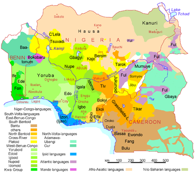Linguistic map of Nigeria, Cameroon, and Benin