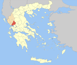 Arta within Greece