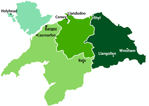 North Wales Wikivoyage map